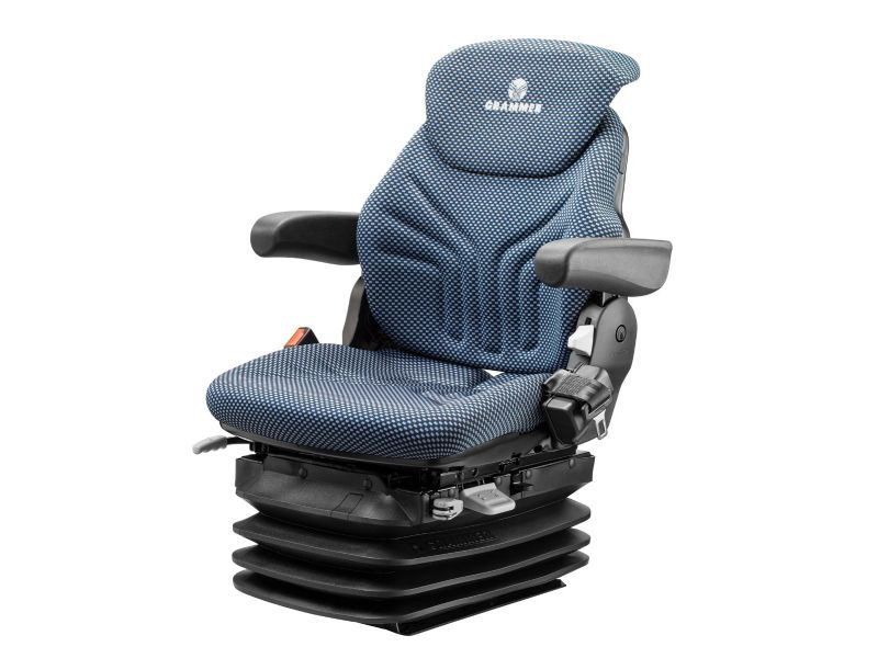 Heftruckstoel Maximo H L Stof blauw/zwart 12V eindschakelaar met gordel 1292201